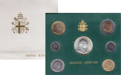 Изображение Подарочные наборы Ватикан Anno XIV 1992 1992  UNC В наборе 7 монет: 10