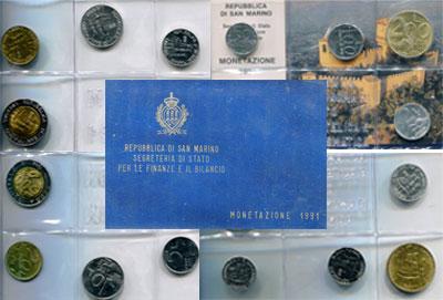 Изображение Подарочные наборы Сан-Марино Стандартный выпуск 1991 года 1991  UNC 1 лира (0,625 грамм,