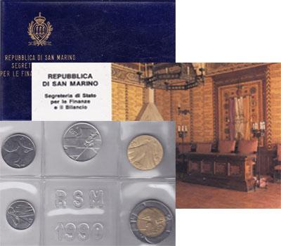 Изображение Подарочные монеты Сан-Марино Стандартный выпуск 1990 года 1990  UNC 1 лира (0,625 грамм,