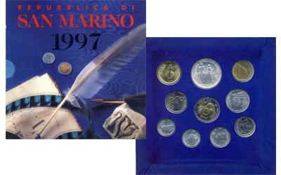 """Изображение Подарочные монеты Сан-Марино Набор: Искусство и общение 1997  UNC """"Знать прошлое, чтоб"""
