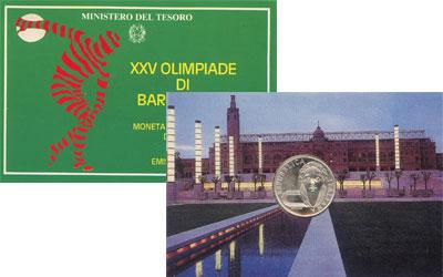 Изображение Подарочные наборы Италия XXV олимпийские игры в Барселоне 1992  UNC Монета посвящена XXV