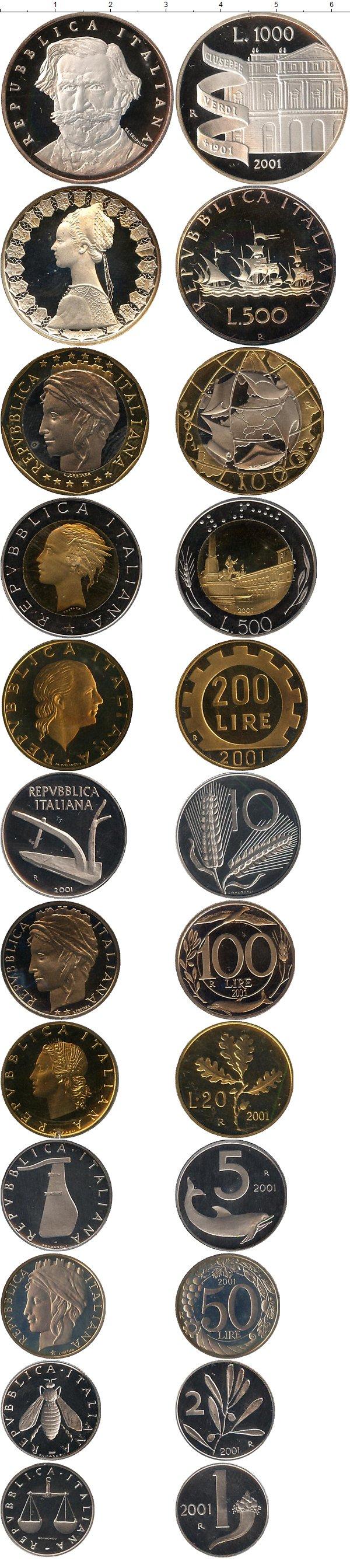 Картинка Подарочные монеты Италия Джузеппе Верди Proof  2001