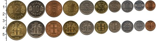Изображение Наборы монет Исландия Исландия 1958-1980 0  XF В наборе 10 монет но