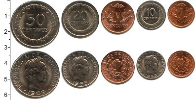 Изображение Наборы монет Колумбия Колумбия 1967-1978 1967  XF В наборе 5 монет ном
