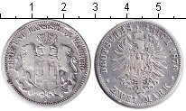 Изображение Монеты Германия Гамбург 2 марки 1876 Серебро VF