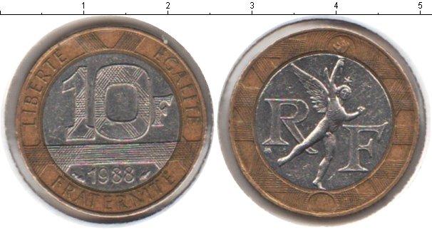 Картинка Мелочь Франция 10 франков Биметалл 1988