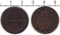 Изображение Монеты Сан-Марино 5 сентесим 1869 Медь VF