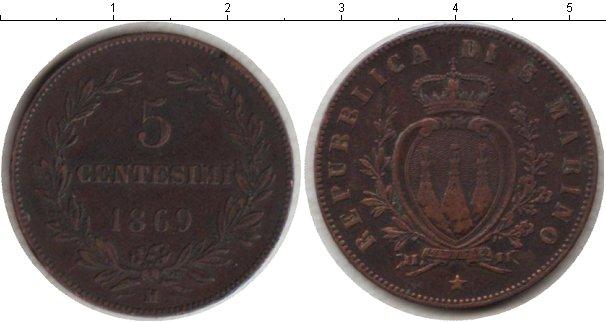 Картинка Монеты Сан-Марино 5 сентесим Медь 1869