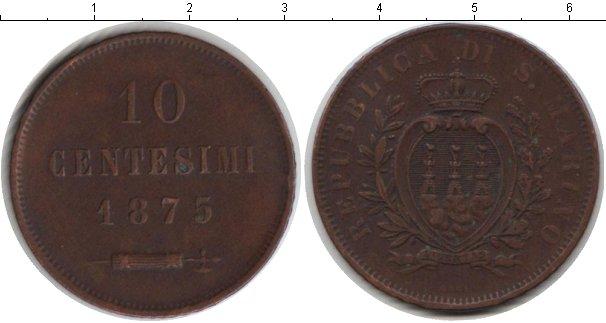 Картинка Монеты Сан-Марино 10 сентесим Медь 1875