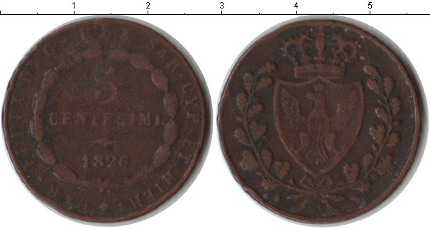 Картинка Монеты Сардиния 5 сентесим Медь 1826