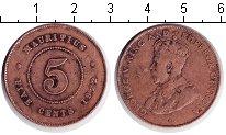 Изображение Монеты Маврикий 5 центов 1922 Медь VF Георг V