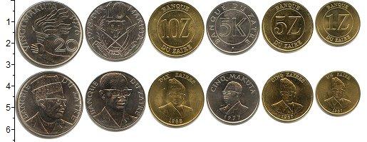 Изображение Наборы монет Заир Заир 1976-1988 0  UNC- В наборе 6 монет ном