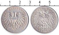 Изображение Монеты Любек 2 марки 1901 Серебро XF