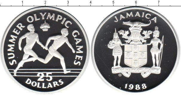 Картинка Монеты Ямайка 25 долларов Серебро 1988