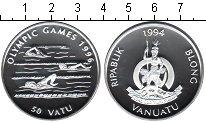 Изображение Монеты Вануату 50 вату 1994 Серебро Proof Олимпиада-1996 в Атл