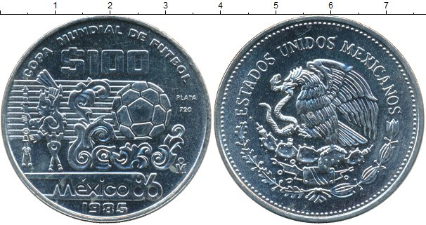 Картинка Монеты Мексика 100 песо Серебро 1985