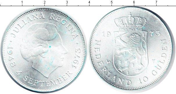 Картинка Монеты Нидерланды 10 гульденов Серебро 1973
