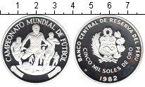 Изображение Монеты Перу 5000 солей 1982 Серебро Proof- футбол