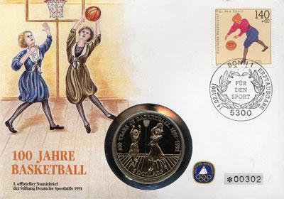 Изображение Подарочные монеты Ниуэ 100- летие баскетбола 1991 Медно-никель UNC Подарочная монета по