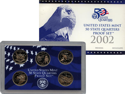 Изображение Подарочные монеты США Памятные четвертаки 2002 Медно-никель Proof Представляем Вам наб