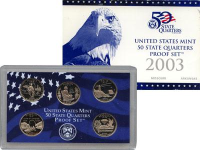 Изображение Подарочные монеты США Памятные четвертаки 2003 Медно-никель Proof Представляем Вам наб