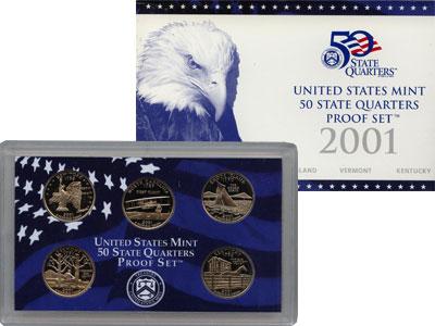 Изображение Подарочные монеты США Памятные четвертаки 2001 Медно-никель Proof Представляем Вам наб