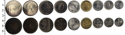 Изображение Подарочные монеты Италия Набор 1970 1970  UNC !!! Потемневшие!!! В