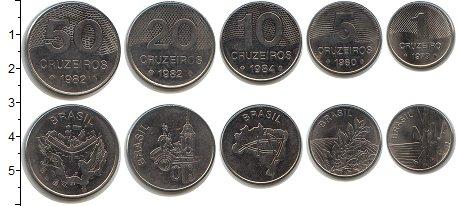 Изображение Наборы монет Бразилия Бразилия 1980-1985 0 Медно-никель UNC- В наборе 5 монет ном
