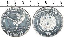 Изображение Монеты Тонга 1 паанга 1991 Серебро Proof- Олимпийские игры 199