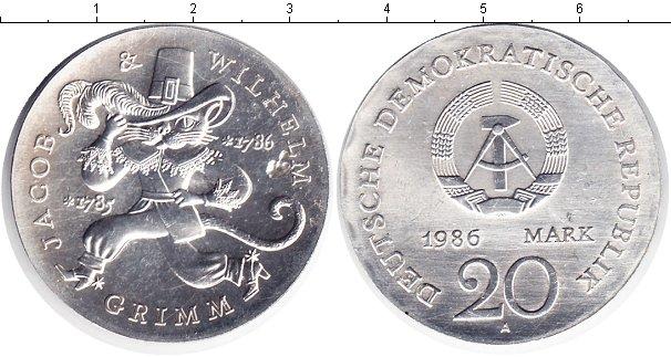 Картинка Монеты ГДР 20 марок Серебро 1986