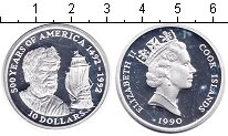 Изображение Монеты Острова Кука 10 долларов 1990 Серебро Proof 500-летие открытия А