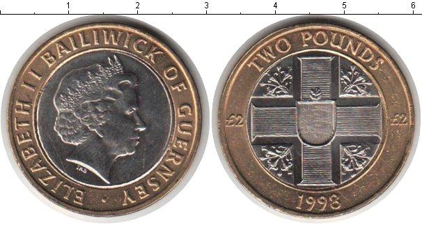 Картинка Мелочь Гернси 2 фунта Биметалл 1998
