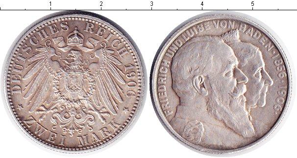 Картинка Монеты Баден 2 марки Серебро 1906