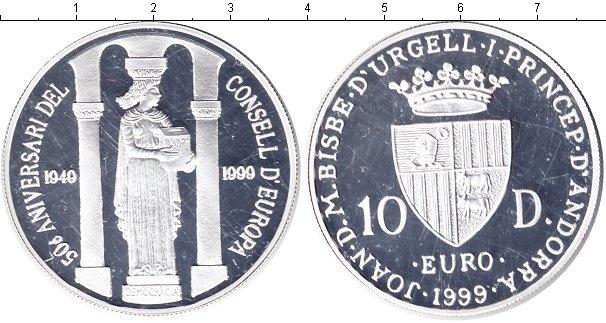 Картинка Монеты Андорра 10 динерс Серебро 1999