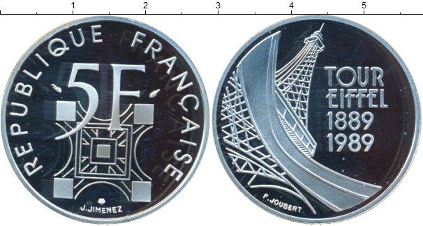Картинка Монеты Франция 5 франков Серебро 1989
