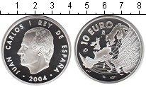 Изображение Монеты Испания 10 евро 2004 Серебро Proof Расширение Евросоюза