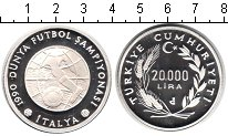 Изображение Монеты Турция 20000 лир 1990 Серебро Proof- Италия 90