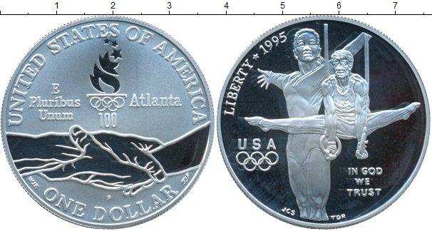 Картинка Монеты США 1 доллар Серебро 1995