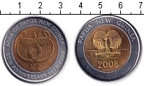 Изображение Монеты Папуа-Новая Гвинея 2 кина 2008 Биметалл UNC- 35-летний юбилей бан