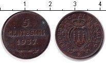 Изображение Монеты Сан-Марино 5 сентесими 1937 Медь XF