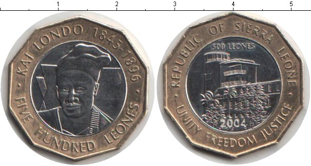 Картинка Мелочь Сьерра-Леоне 500 леоне Биметалл 2004