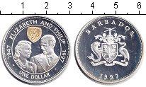 Изображение Монеты Барбадос 1 доллар 1997 Серебро Proof- Елизавета II и Филип
