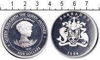 Изображение Монеты Барбадос 5 долларов 1994 Серебро Proof Королева-мать