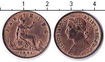 Изображение Монеты Великобритания 1 фартинг 1881 Медь XF Виктория