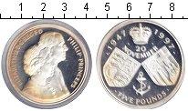 Изображение Монеты Великобритания 5 фунтов 1997 Серебро Proof 50-летие свадьбы Ели