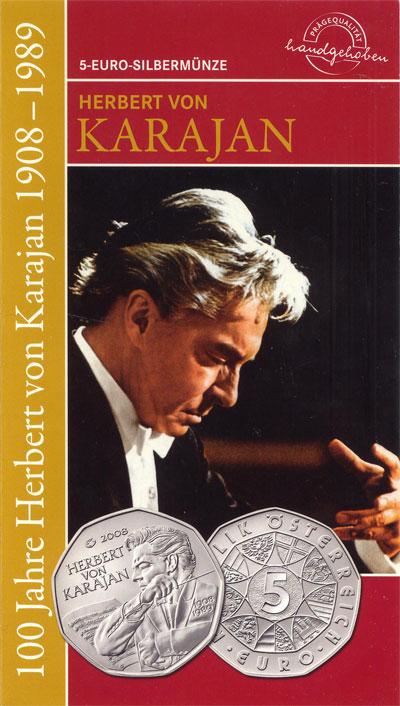 Изображение Подарочные монеты Австрия Герберт фон Караян 2008 Серебро UNC
