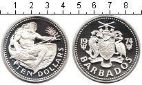 Изображение Монеты Барбадос 10 долларов 1974 Серебро Proof- морской царь