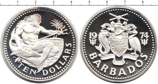Картинка Монеты Барбадос 10 долларов Серебро 1974