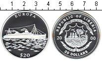 Изображение Монеты Либерия 20 долларов 2000 Серебро Proof- пароход