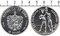 Изображение Монеты Куба 10 песо 1992 Серебро UNC- Барселона 1992